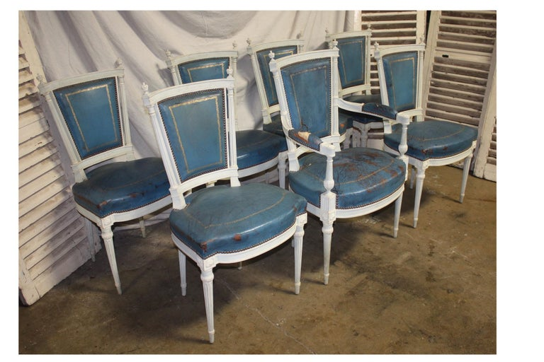 Set of French 19th century dining room chairs.