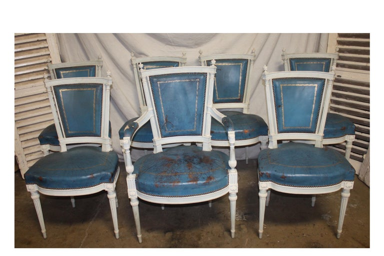 Louis XVI Set of French 19th Century Dining Room Chairs For Sale