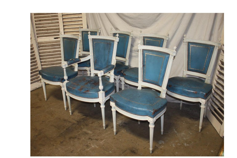 Lacquered Set of French 19th Century Dining Room Chairs For Sale