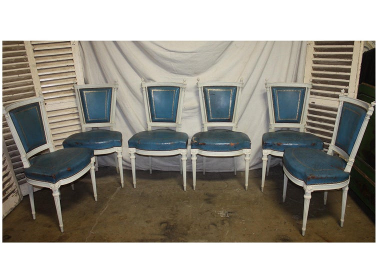 Wood Set of French 19th Century Dining Room Chairs For Sale