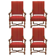 Set of French 19th Century Louis XIII Style Signed Gillette Oak Armchairs