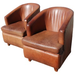 Set of French Art Deco Brown Leather Club Chairs