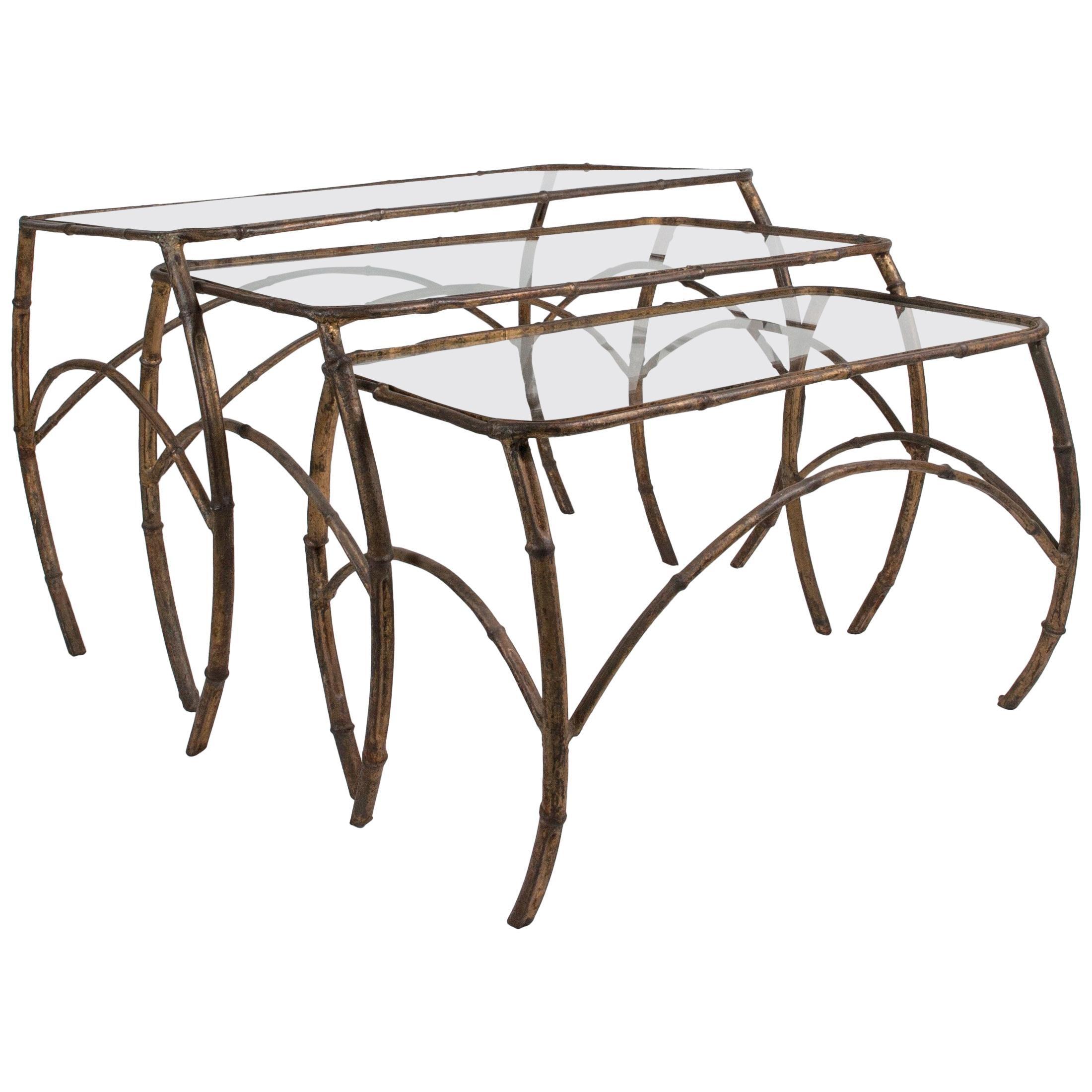 Set of French Art Deco Gilt Metal Nesting Tables