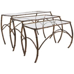 Set of French Art Deco Gilt Metal Nesting Tables