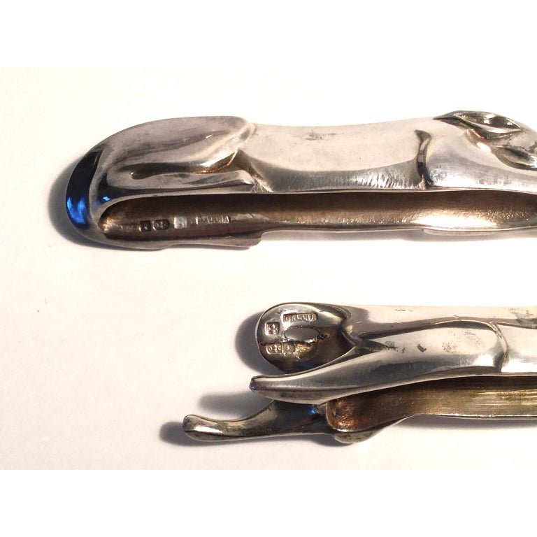 Set of French Art Deco Knife Rests by Edouard-Marcel Sandoz for Christofle For Sale 1