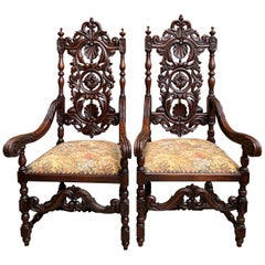 Set of French Carved Oak Dining Throne Armchair Louis XIV Renaissance, Pair