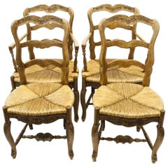 Set of French Country French Provencal Carved Ladder Back Dining Chairs