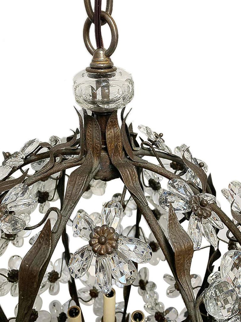 Bronze Set of French Crystal Lantern Chandeliers, Sold Individually For Sale