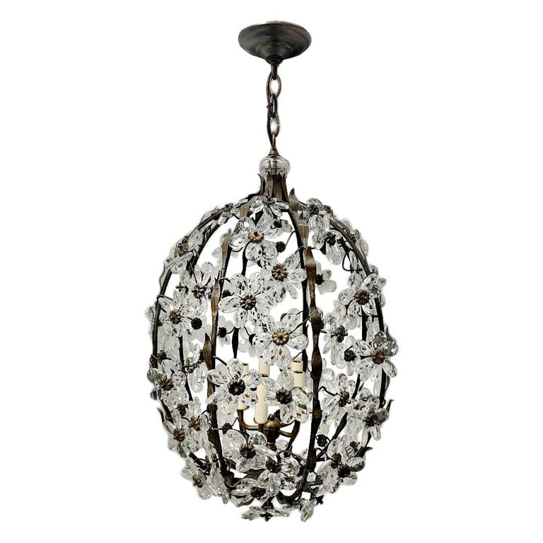 Set of French Crystal Lantern Chandeliers, Sold Individually For Sale