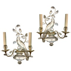 Set of French Glass Parrot Sconces, Sold Per Pair