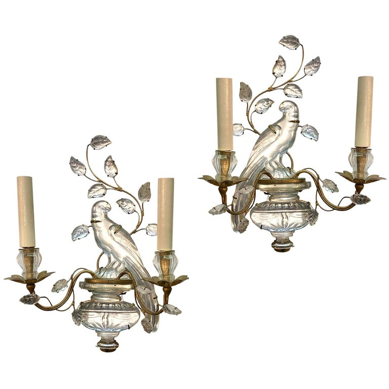 Set of French Glass Parrot Sconces, Sold Per Pair For Sale