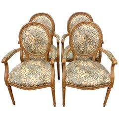 Set of French Louis XVI Carved Oval Back Fruitwood Armchairs with Kravet Fabric