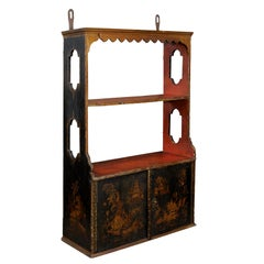 Set of French Louis XVI Chinoiserie Lacquered Hanging Shelves, circa 1780