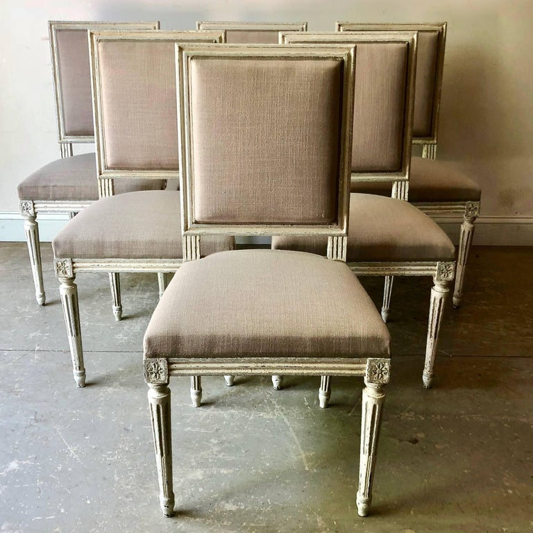 Hand-Carved Set of French Louis XVI Style Chairs For Sale