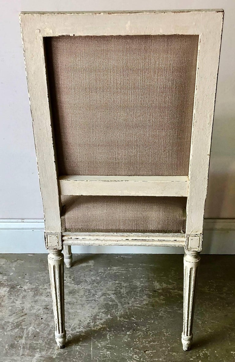 Linen Set of French Louis XVI Style Chairs For Sale