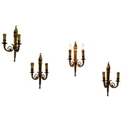 Set of French Neoclassical Large Brass Twin Wall Lights