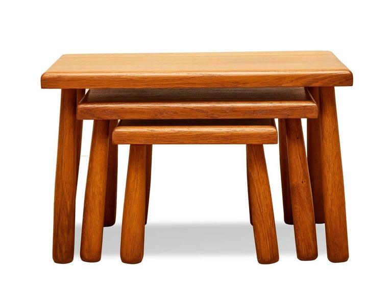 Set of French oak nesting stools  Measures: Large stool: 23.5