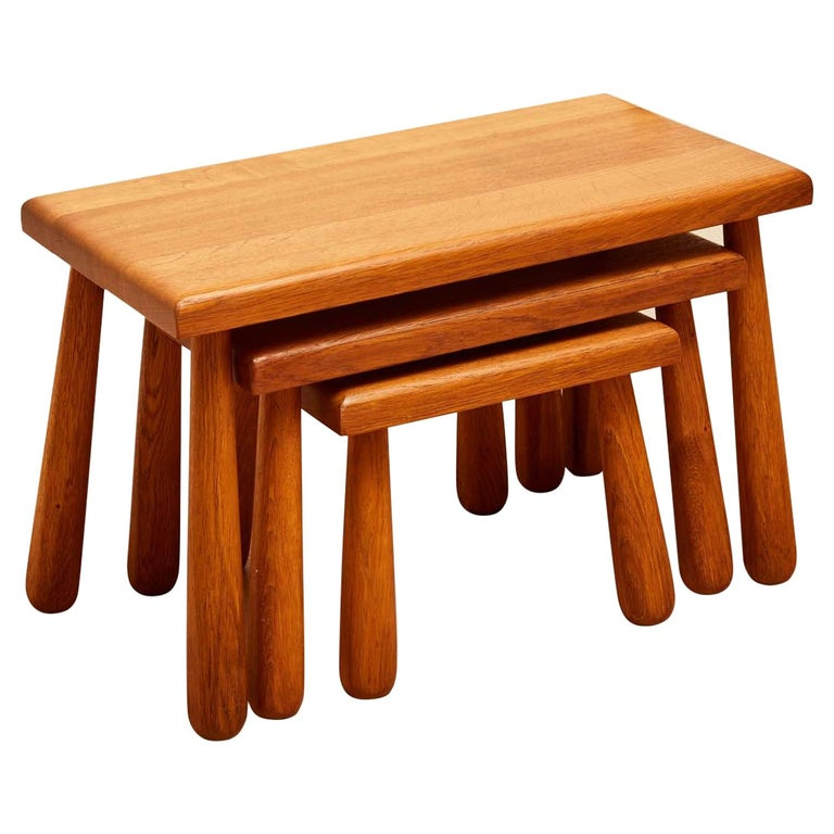 Set of French Oak Nesting Stools For Sale