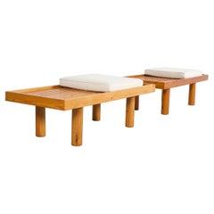 Set of French Pine Wood Slat Benches, 1960s