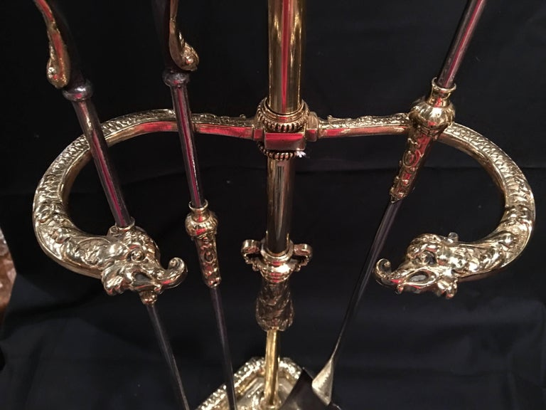 Set of French Polished Brass Fire Tools on a Decorative Stand, 19th Century For Sale 1