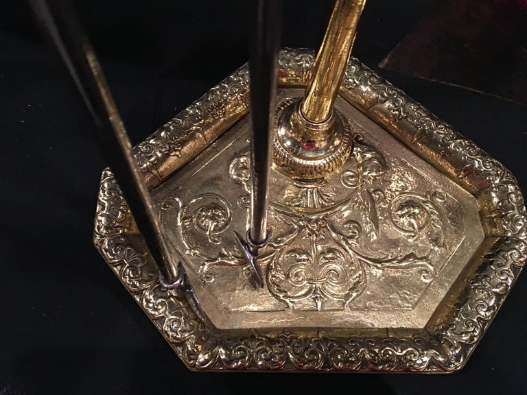 Set of French Polished Brass Fire Tools on a Decorative Stand, 19th Century For Sale 3