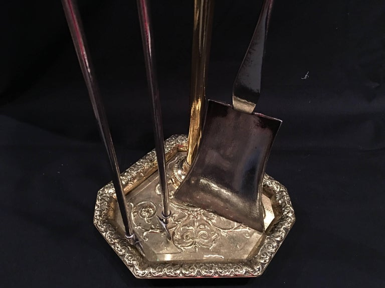 Set of French Polished Brass Fire Tools on a Decorative Stand, 19th Century For Sale 4