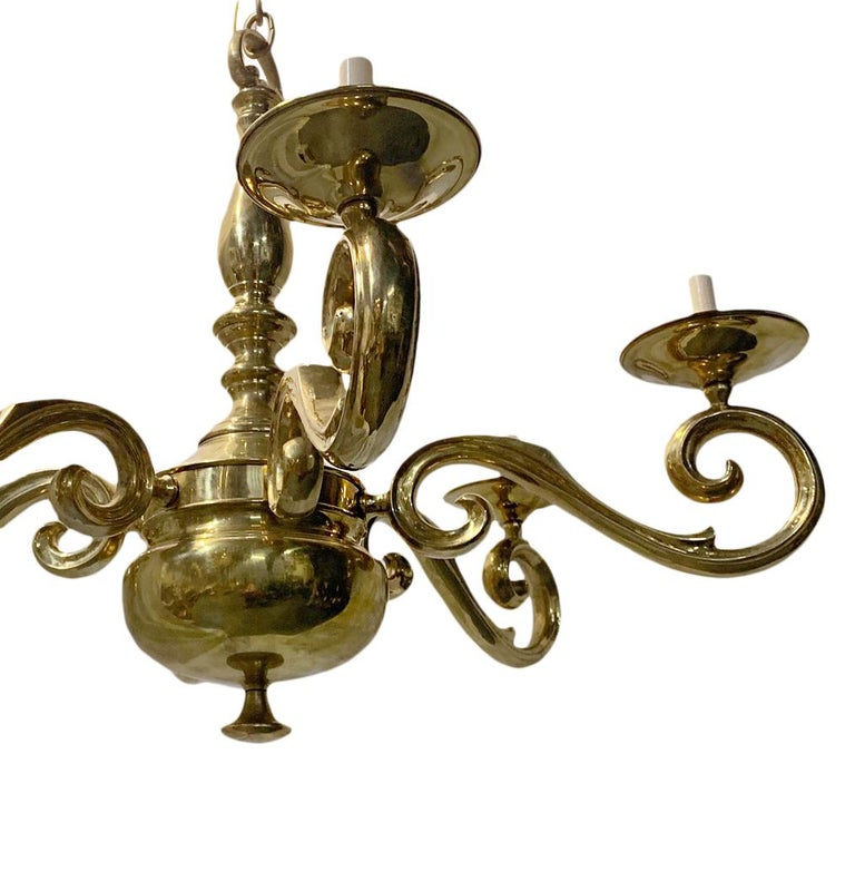 Mid-20th Century Set of French Polished Bronze Chandeliers, Sold Individually For Sale