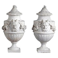 Set of French Sculpted White Marble Vases in Neoclassical Style