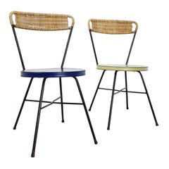 Set of French Side Chairs Rattan Black