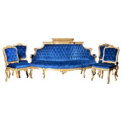 Set of French Sofa and 4 Chairs, 19th Century