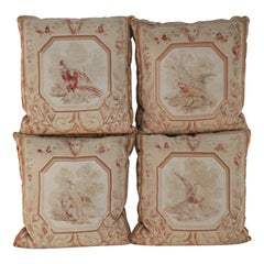 Set of French Victorian Beige Square Aubusson Bird Pillows