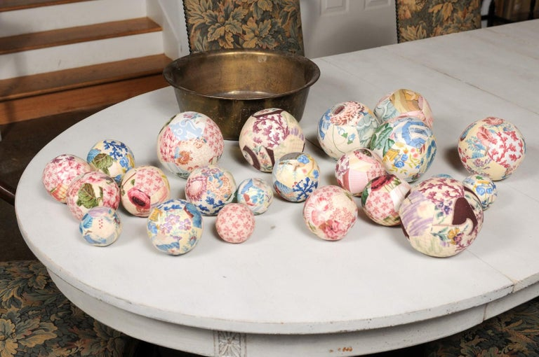 Set of French Vintage Colorful Cloth Balls Displayed in Antique Brass Bowl For Sale 6