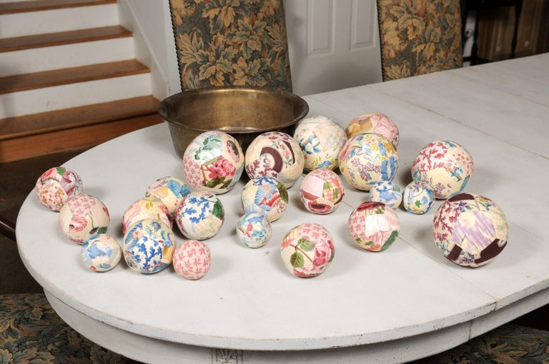 Set of French Vintage Colorful Cloth Balls Displayed in Antique Brass Bowl For Sale 7