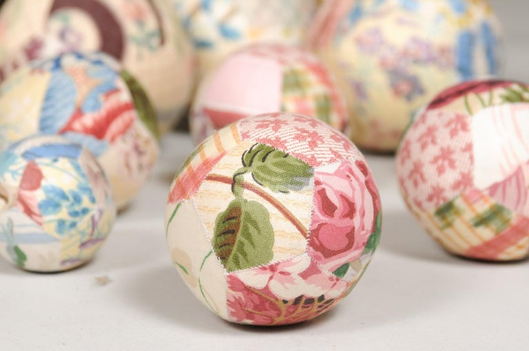Set of French Vintage Colorful Cloth Balls Displayed in Antique Brass Bowl For Sale 8