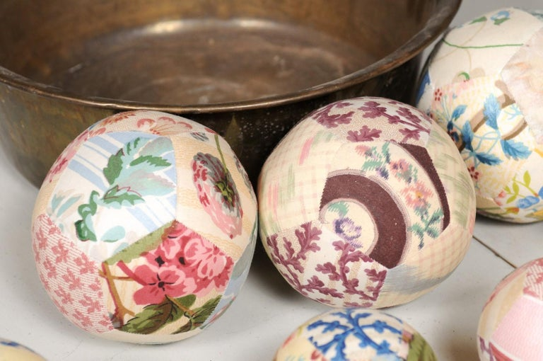 Set of French Vintage Colorful Cloth Balls Displayed in Antique Brass Bowl For Sale 9