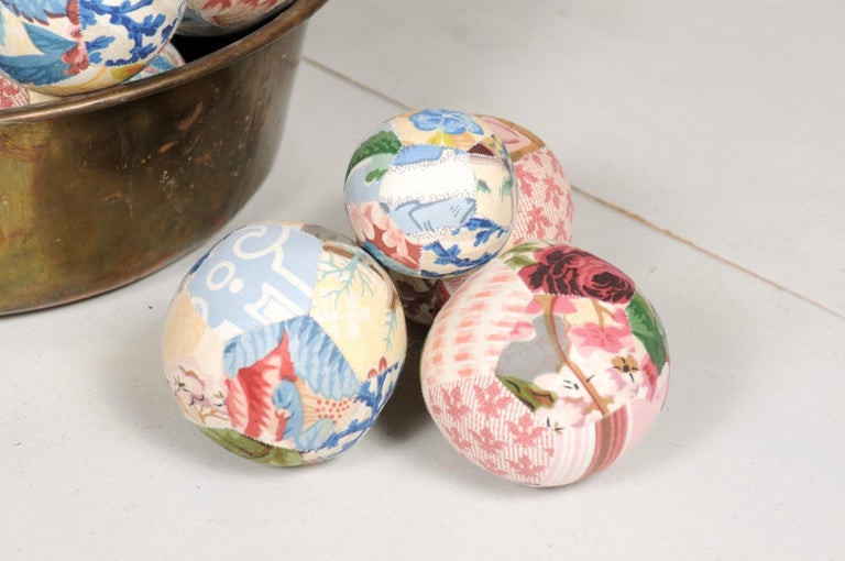 20th Century Set of French Vintage Colorful Cloth Balls Displayed in Antique Brass Bowl For Sale