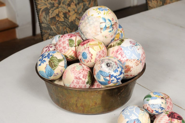 Set of French Vintage Colorful Cloth Balls Displayed in Antique Brass Bowl For Sale 1