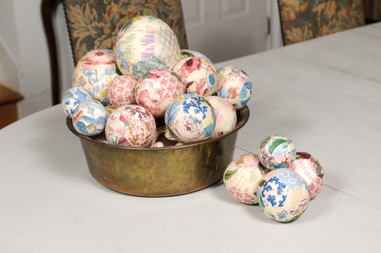 Set of French Vintage Colorful Cloth Balls Displayed in Antique Brass Bowl For Sale 2