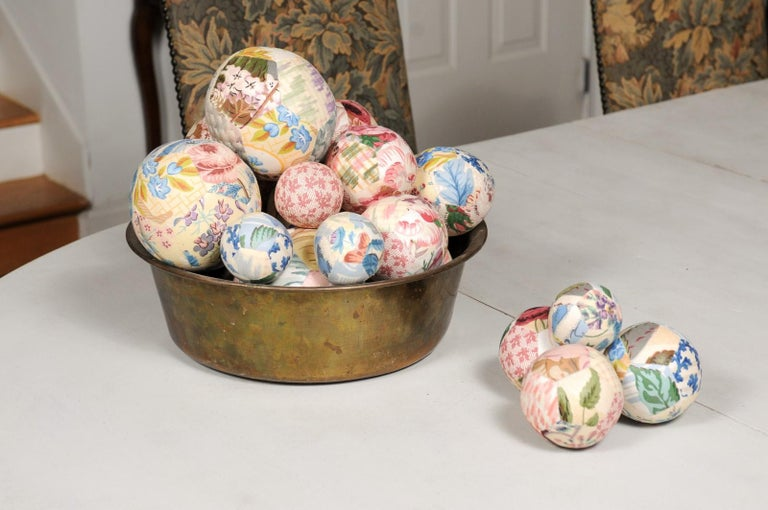 Set of French Vintage Colorful Cloth Balls Displayed in Antique Brass Bowl For Sale 3