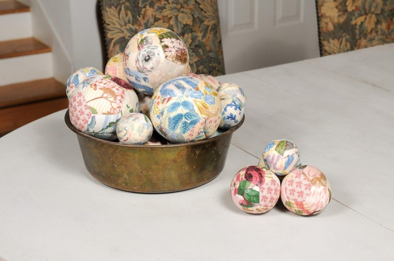 Set of French Vintage Colorful Cloth Balls Displayed in Antique Brass Bowl For Sale 4
