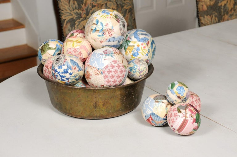 Set of French Vintage Colorful Cloth Balls Displayed in Antique Brass Bowl For Sale 5