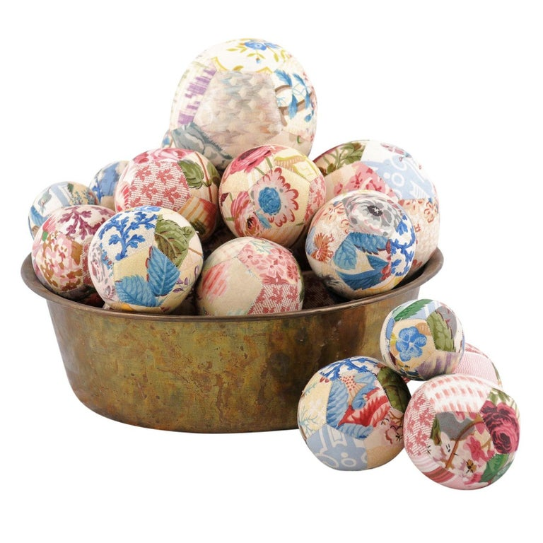 Set of French Vintage Colorful Cloth Balls Displayed in Antique Brass Bowl For Sale