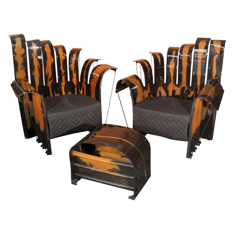Set of Gaetano Pesce's Nobody's Royal Lounge Chairs and Ottoman For Sale