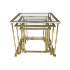 Set of Gilded Nesting Tables, Brass and Glass Germany, 1970s