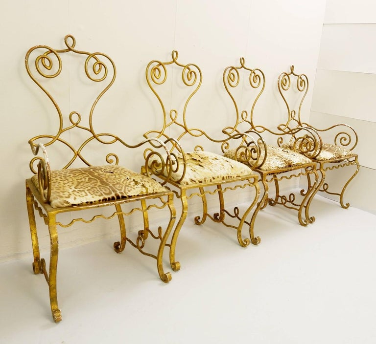 Brass Set of Gilded Wrought Iron Dining Table and 4 Armchairs For Sale