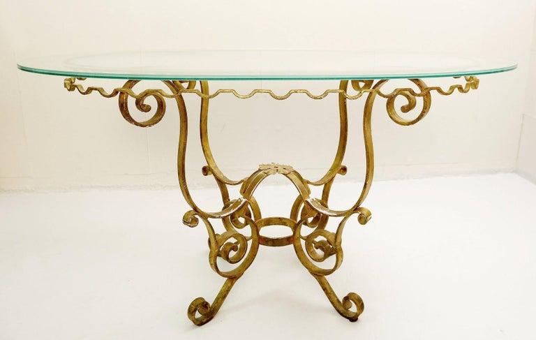 Set of Gilded Wrought Iron Dining Table and 4 Armchairs For Sale 2