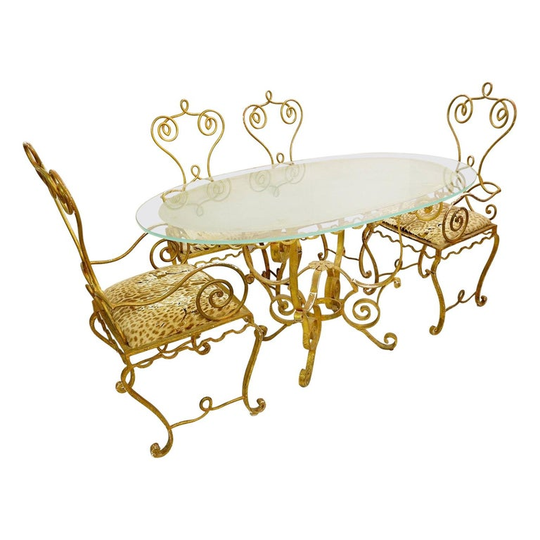 Set of Gilded Wrought Iron Dining Table and 4 Armchairs For Sale