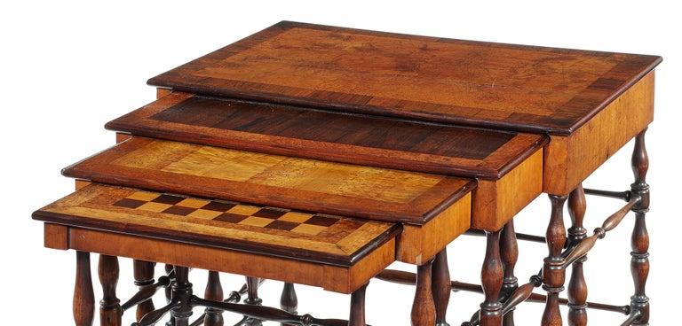 English Set of Gillows Regency Specimen Wood Quartetto Tables For Sale