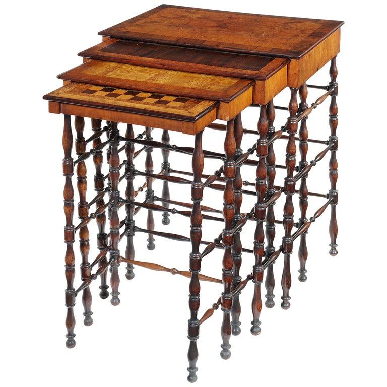 Set of Gillows Regency Specimen Wood Quartetto Tables For Sale