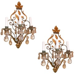 Set of Gilt and Painted Wrought Iron Sconces with Crystals, Sold per Pair